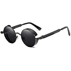 Dollger Gothic Steampunk Black Round Glasses Metal Frame Sunglasses