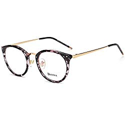 DONNA Stylish Clear Lens Glasses Samll Circle Frame Blue Light Blocking for Computer DN08-AFB