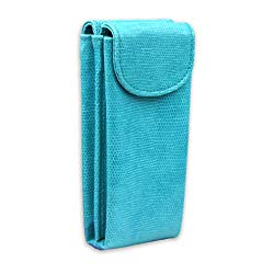Double Eyeglass Case for 2 frames | Semi Soft pouch with magnetic closure | comes with 2 microfiber cleaning cloths (IP836 Turquoise Snake)