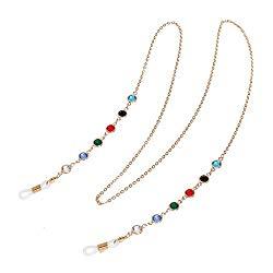 Eyeglass Chains sunglasses Neck strap Cord Beaded reading glasseschain Holder Lanyards Eyewear Retainer for women (GOLD)