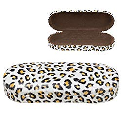Hard Clamshell Eyeglass Case, Leopard Print Protective Glasses and Sunglasses Holder – For Kids & Adults, Men & Women – Brown – by OptiPlix