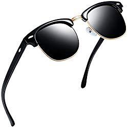 Joopin Semi Rimless Polarized Sunglasses Women Men Retro Brand Sun Glasses (Brilliant Black Frame, Simple packaging)