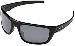 Oakley Men's Drop Point Polarized Iridium Rectangular Sunglasses, Matte black, 60 mm