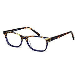 OCCI CHIARI Rectangle Stylish Non-prescription Optical Women Eyewear Frame With Clear Lens (4090-Blue(Anti-Bluelight))