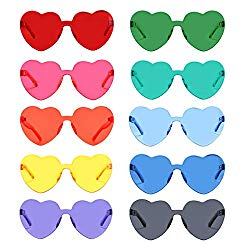 One Piece Heart Shaped Rimless Sunglasses Transparent Candy Color Eyewear (10 Pack)