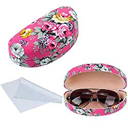 Oversized Hard Shell Sunglasses Case For Women Durable Protective Holder for Extra Large Reading Glasses With Clean Cloth (Pink)
