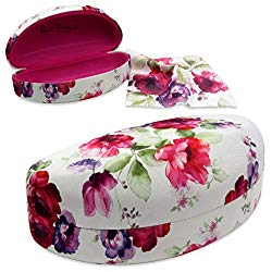 Rachel Rowberry Women Large Sunglasses Case | Hard Shell Glasses Case with microfiber pouch & cloth by MyEyeglassCase (AS179 Cranberry Rose 3)