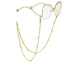 RANHUU Beaded Eyeglass Chains for Women Reading Glasses Cords Sunglasses Chain Holder Strap Lanyards Eyewear Retainer (Gold)