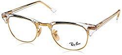 Ray-Ban RX5154 Clubmaster Square Eyeglass Frames, Transparent/Demo Lens, 51 mm