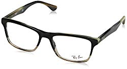 Ray-Ban RX5279 Square Eyeglass Frames, Grey Horn Transparent Grey/Demo Lens, 53 mm