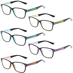 READING GLASSES 5 Pack Fashion Unisex Readers Spring Hinge With Stylish Pattern Designed Glasses (5 MIx Color, 2.0)