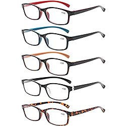 Reading Glasses 5 Pairs Quality Readers Spring Hinge Vintage Glasses for Reading for Men and Women (5 Pack Mix Color, 3.50)