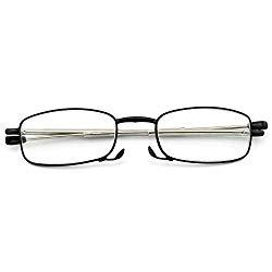 Reading Glasses Readers Compact Folding Women Men Glasses for Reading Case Included Prescription Eyeglasses 100 150 200 250 300 350 400 (Black, 3.0)