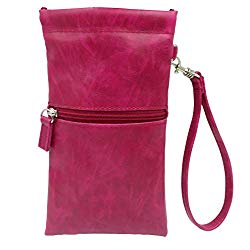 Soft Eyeglass Case | Soft Sunglasses Case | Cell Phone Holder with Wristlet Strap (CT8W Cranberry Smooth)