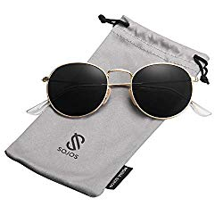 SOJOS Small Round Polarized Sunglasses Mirrored Lens Unisex Glasses SJ1014 3447 with Gold Frame/Grey Polarized Lens
