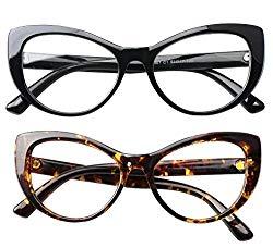SOOLALA Womens Large Frame CatEye Prescription Glass Frame Reading Glasses, BkLeo, ClearLens