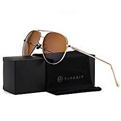 SUNGAIT Women's Lightweight Oversized Aviator sunglasses – Mirrored Polarized Lens (Light-Gold Frame/Brown Lens, 60)1603TKC