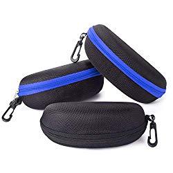 Sunglasses Case,(3 Pack) RayLove Portable Travel Zipper Eyeglasses Case Hook(2Blue1Black)
