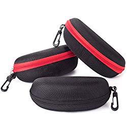 Sunglasses Case,(3 Pack) RayLove Portable Travel Zipper Eyeglasses Case Hook(2R1B)