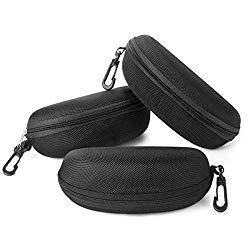 Sunglasses Case,(3 Pack) RayLove Portable Travel Zipper Eyeglasses Case Hook(3Black)