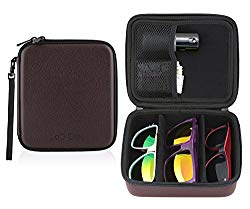 Sunglasses Eyeglasses Travel Storage Organizer 3 Compartment Display Case w/ glasses pouches (Brown Leather)