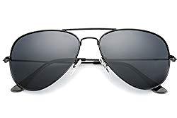 YuFalling Polarized Aviator Sunglasses for Men and Women (black frame/smoke lens, 58)