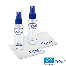 Crizal Eye Glasses Cleaning Cloth and Spray | Crizal Lens Cleaner (2 oz) with Crizal 6 1/2″ X 6 1/2″ Microfiber Cloth. #1 Doctor Recommended Cleaner and Cloth for Crizal Anti Reflective Lenses-2 Pack