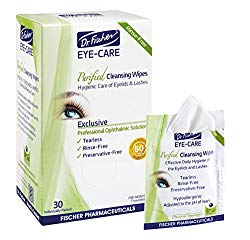 Dr. Fischer Premium, Purified, Non-Irritating & Hypoallergenic Eyelid Wipes- Pre-moistened for Complementary Treatment of Red Eye, Dry Eye, and Blepharitis & Conjunctivitis – Cleanses Make-up (30)