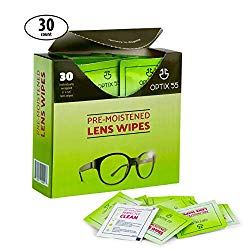 Eyeglass Cleaner Lens Wipes – 30 Pre-Moistened Cleaning Cloths – Glasses Cleaner Wipe Safely Cleans Eye Glasses, Sunglasses, Screens, Electronics, Computer Monitor and Camera Lense | Streak-Free