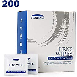 Lens Cleaning Wipes, Pre Moistened Cleansing Cloths Great for Eyeglasses, Tablets, Camera Lenses, Screens, Keyboards and Other Delicate Surfaces – 200 Individually Wrapped Wipes