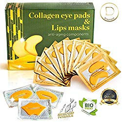 Eye Mask – Lip Mask – Eye Pads – Dry Eye Mask – Gel Eye Mask – Eye Gel Pads – 10 Pairs Gel Eye Pads + 3 Collagen Lips Mask – 24K Gold Under Eye Mask – for Dark Circles Puffy Eyes Wrinkles and Dry Lips