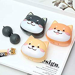 2 Pack Cute Contact Lens Cases, Shiba Inu Contact Lens Soak Storage Box, Portable Pink Contact Lens Holder with Tweezers for Travel Kit (Yellow)