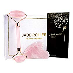 BAIMEI Jade Roller, Rose Quartz Roller & Gua Sha Set, Facial Roller Beauty Massage Tool, for Face, Neck and Body Muscle Relaxing and Stimulating Blood Flow, Relieve Fine Lines and Wrinkles