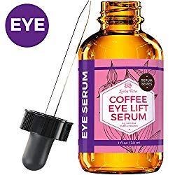 Coffee Eye Lift Serum by Leven Rose Pure, Organic, Natural Reduces Puffiness, Anti Aging, Brightens Tired Eyes 1 oz