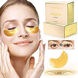 FRESHME Under Eye Mask – 20 Pairs Nano Gold Eye Pads Hyaluronan Eye Patches Treatment Masks with Rosa Rugosa Oil for Moisturizing Reducing Dark Circles Puffiness Wrinkles Gel Pad for Women & Men