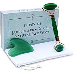 Jade Roller for Face and Gua Sha Scraping Tool Kit with Carry Pouch – Natural Stone Anti Aging Beauty Facial Massage Set – Beautiful Skin Detox Helps Reduce Wrinkles, Puffy Eyes, Fine Lines