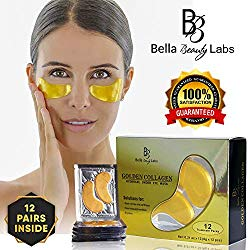 Under Eye Collagen Patches – Best Eye Treatment 24K Gold Collagens Mask – Anti-aging and Anti Wrinkle Effect – Reduces Puffiness and Dark Circles