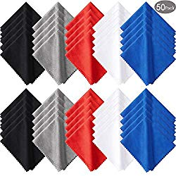 50 Pieces Microfiber Cleaning Cloths 7 x 6 Inch Screen Cleaning Cloths for Smart Phones Laptops Tablets Lens LCD Monitor TV Camera Eyeglasses Optical Cleaning Cloths