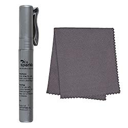 Glass Spray and Cleaning Cloth – Eyeglasses and Screens – 8ml Bottle and Microfiber Cleaner – for Glasses, Cameras, Lenses, Touchscreens, Phones and Tablets – Silver – by OptiPlix