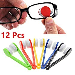 LERORO 12 Pcs Mini Sun Glasses Eyeglass Microfiber Spectacles Cleaner Soft Brush Cleaning Tool Mini Microfiber Glasses Eyeglasses Cleaner Cleaning Clip (Random Color)
