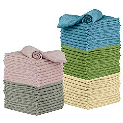 Microfiber Cleaning Cloth, 50 Pack 12 x 16 – for Kitchen, Car, Super Absorbent Cloths – Polishing Shop Rags with Streak Free Finish for Indoor, Outdoor Surfaces – Premium Dusting Huck Towels