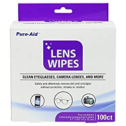 Pure-Aid Lens Wipes, Cleans Eyeglasses Camera Lenses, Smart Phones and More – 100ct (Individually Wrapped Wipes) per Pack