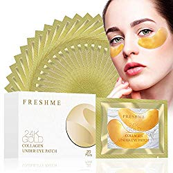 24K Golden Collagen Eye Pads – Gel Eye Mask for Eyes Treatment Puffiness Anti Aging Removing Bags Deep Hydration Relieve Dark Circles Under Eye Gel Mask for Women and Men (20 Pairs)