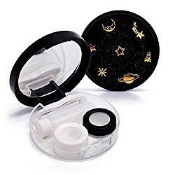 Contact Lens Box The Golden Stars Cute Contact Lens Travel Case Contact Lens Case Container Holder Storage Box Portable Contact Lens Travel Kits Cute Mini (Black)