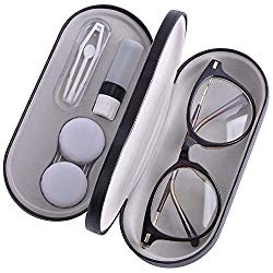 Contact Lens Case – 2 in 1 Double Sided Portable Glasses Case – Mirror – Tweezers and Applicator Included – Perfect for Home Travel-Black