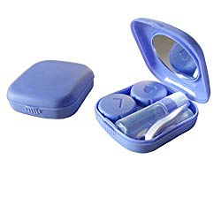 Contact Lens Case, 2 Pack Portable Contact Lens Box Kit with Mirror, Compact Soak Storage Kit for Travel (Purple)