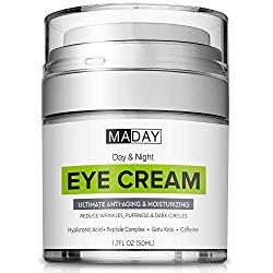 Eye Cream – Reduce Dark Circles, Puffiness & Under Eye Bags – Effective Anti-Wrinkles Treatment – Anti-Aging Eye Gel with Hyaluronic Acid, Gotu Kola Extract, Caffeine – Refreshing Eye Serum