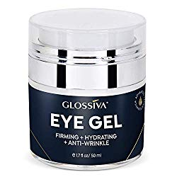 Glossiva Eye Gel, Hyaluronic acid for Wrinkles, Fine Lines, Dark Circles, Puffiness, Bags – Hydrating, Firming, Rejuvenates Skin – Advanced Repair Formula 1.7 Fl Oz