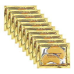 Permotary 30 Pairs Crystal Collagen Under Eye Mask, Gold Gel Collagen Eye Pad For Moisturizing, Reducing Dark Circles & Puffy Eyes, Gold