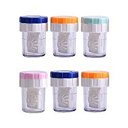 RMISODO 6 Pieces Manually Contact Lens Cleaner Washer Plastic Lens Case Cleaning Container